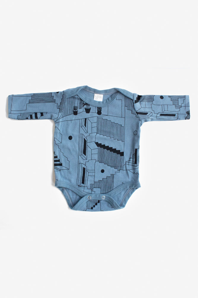 Steps Long Sleeve Onesie - Slate