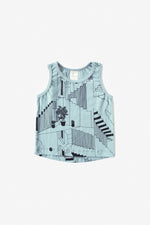 Steps Organic Tank Top - Aqua with Black