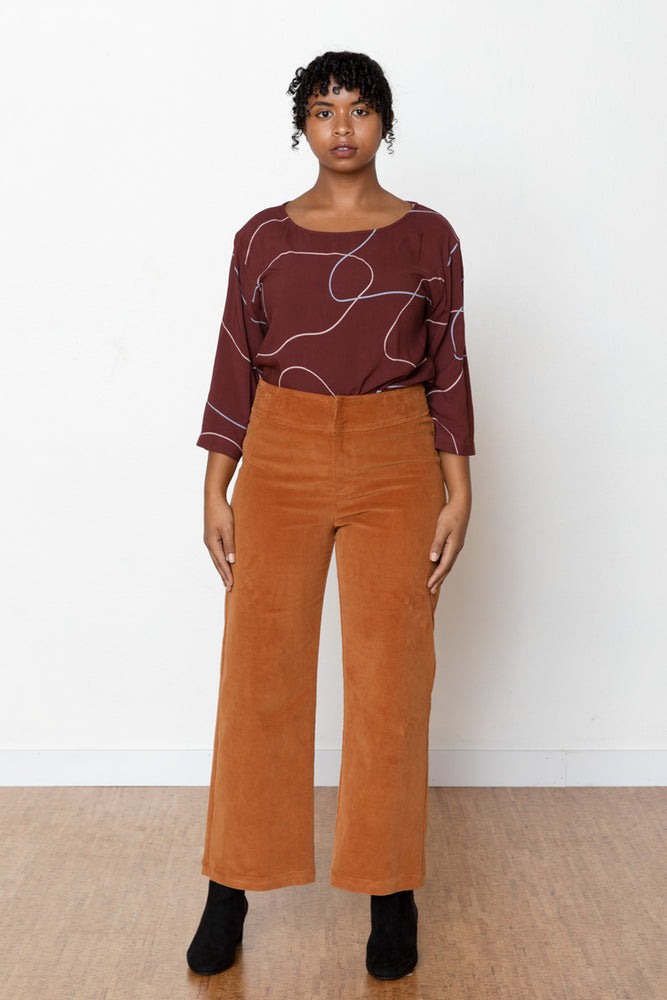 Monica Corduroy High Rise Pant - Toffee