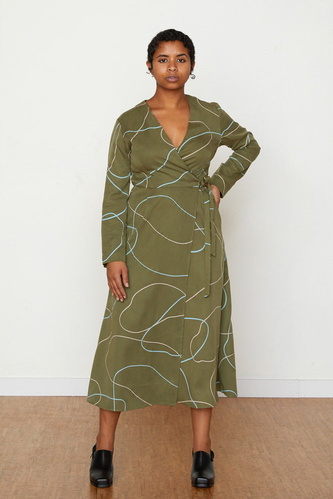 Stones Louisa Wrap Dress - Avocado