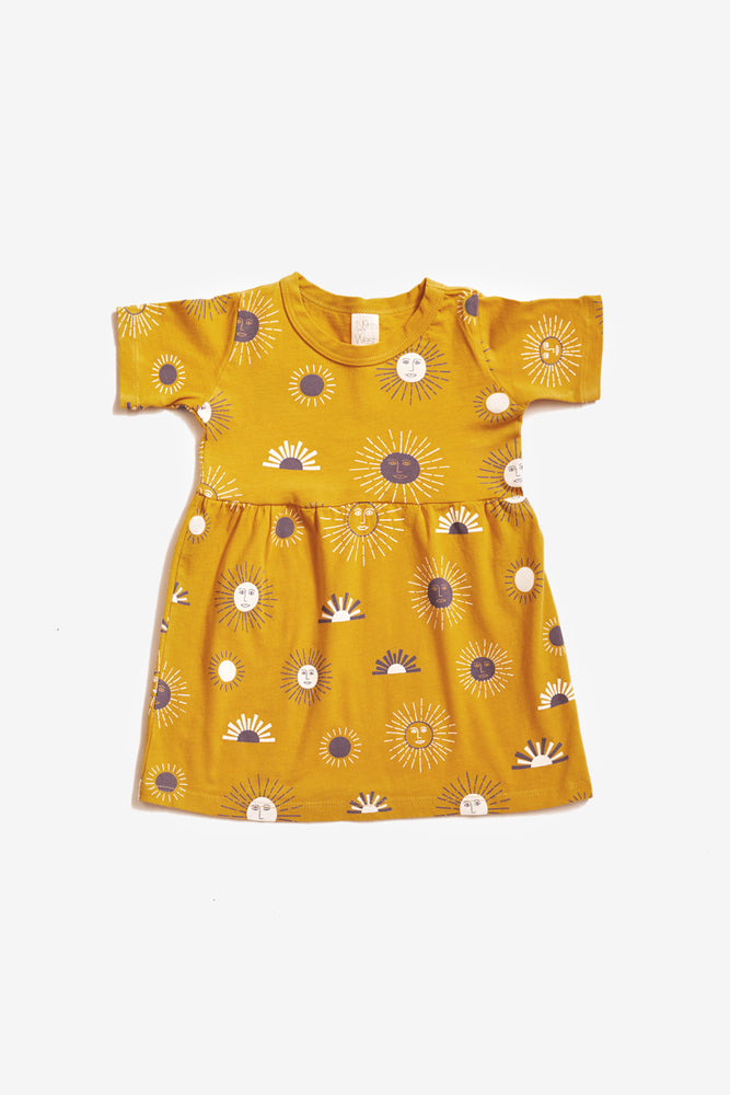 Suns Organic Gathered Dress - Golden