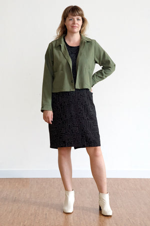 Tencel Cropped Jacket - Avocado