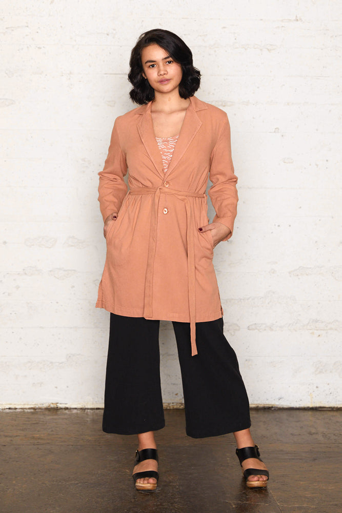 Tencel Long Jacket - Almond