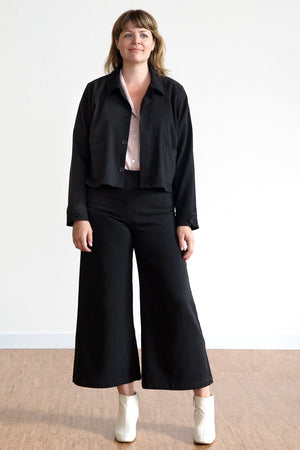 Tencel Cropped Jacket - Black