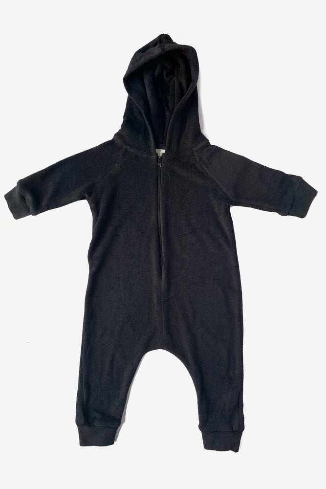 Terry Cloth Hooded Jumpsuit - Black