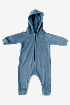 Terry Cloth Hooded Jumpsuit - Slate