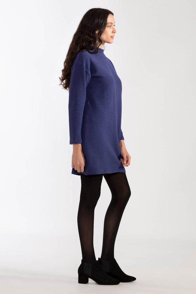 Waffle Knit Organic Dress - Midnight