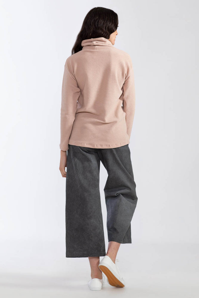 Waffle Knit Organic Turtle Neck Sweatshirt - Dusty Rose