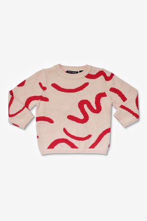 Red Brushstrokes Sweater