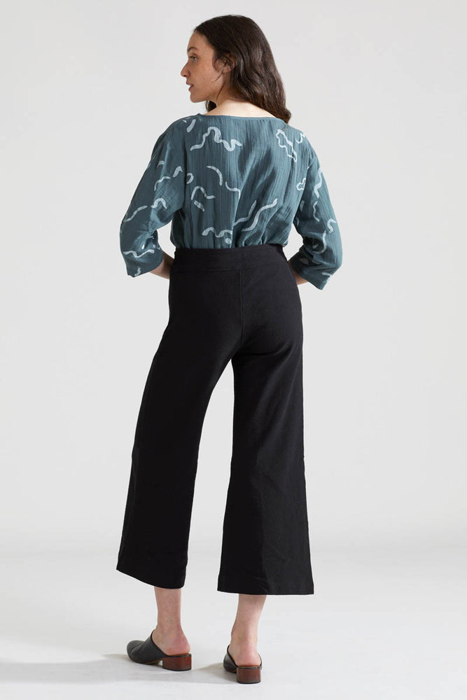Canvas Wide Leg Pants - Black