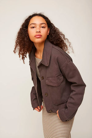 Cropped Jacket - Brown