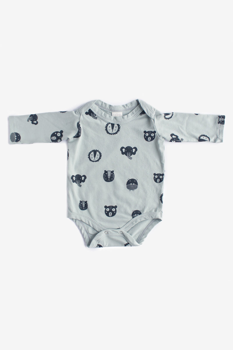f85554dd7 Animals Long Sleeve Organic Onesie - Storm with Charcoal – North Of West