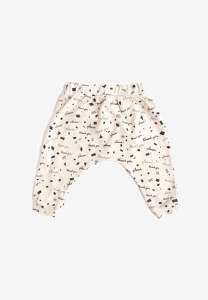 Please & Thank You Organic Harem Pants - Natural with Charcoal
