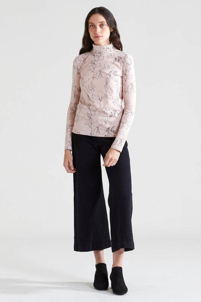 Flower Organic Turtle Neck - Dusty Rose