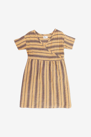Melody Stripe Wrap Dress - Mandarin