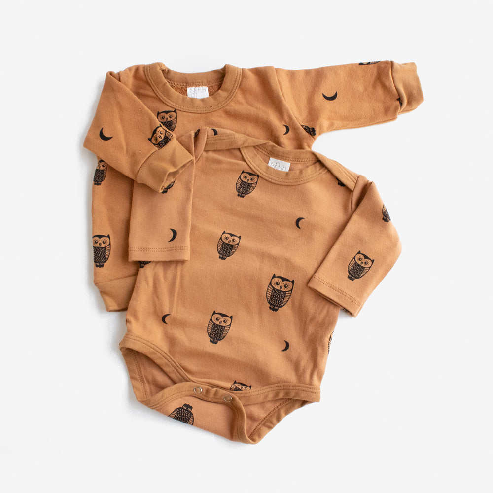 Owls and Moons Long Sleeve Onesie - Toffee