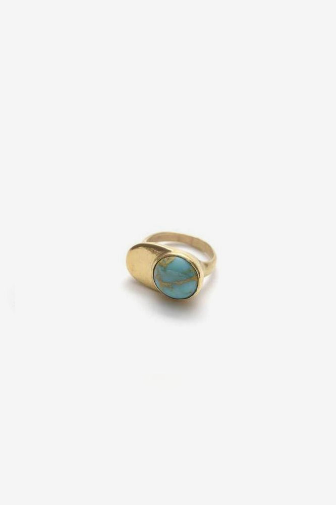 Esposa Ring - Brass with Turquoise