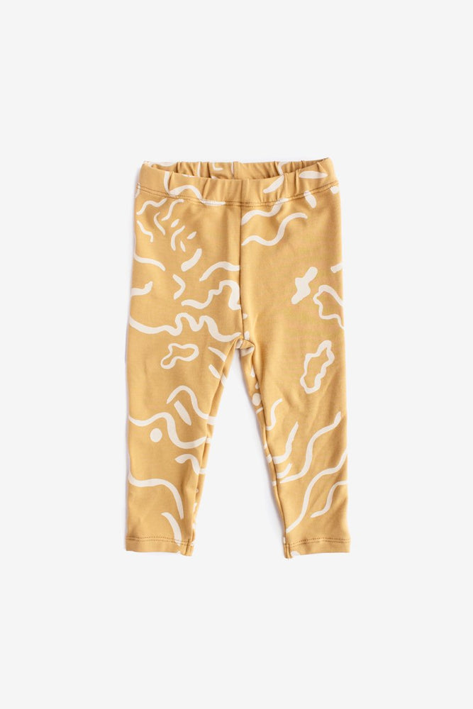 Painted Organic Leggings - Gold with Natural