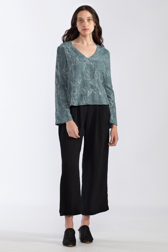 Flowers Deep V Blouse - Forest