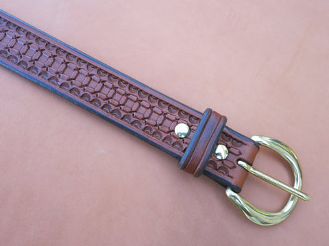 "Hand-Tooled Leather Belt Made From Thick Saddle Leather With Solid Brass Buckle. Size 37, 1-1/2"" Wide."