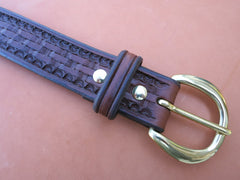 "Hand-Tooled Leather Belt Made From Thick Saddle Leather With Solid Brass Buckle. Size 39, 1-1/2"" Wide."