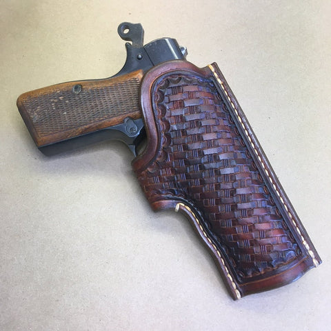 "NEW!!! The ""Ridge"" Holster for a Browning Hi-Power...Basketweave Tooling.. Handmade from Saddle Leather"