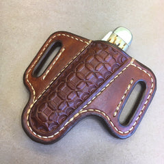 2-Slot Sheath for the Case Trapper Knife, RH carry, Forward tilt, Wafflestamp Tooling