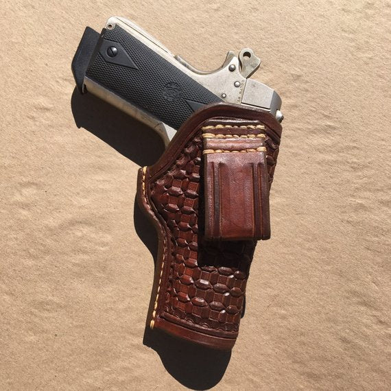Custom Leather Holster for 1911 Commander IWBv Wafflestamp Tooling