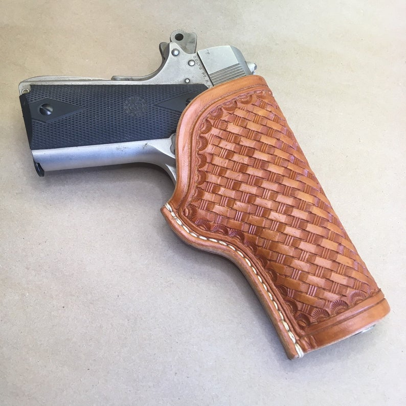 "1911 Commander 4-1/4"" OWB Holster..... Natural Russet, Handmade from Saddle Leather"