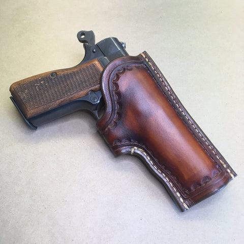 "The ""Ridge"" Holster for a Browning Hi-Power..... Handmade from Saddle Leather."