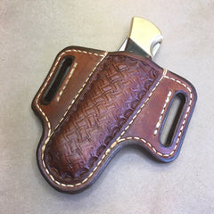 2-Slot Sheath For The Buck 110 Folding Hunter Knife, RH carry, Forward tilt, Crazystamp Tooling