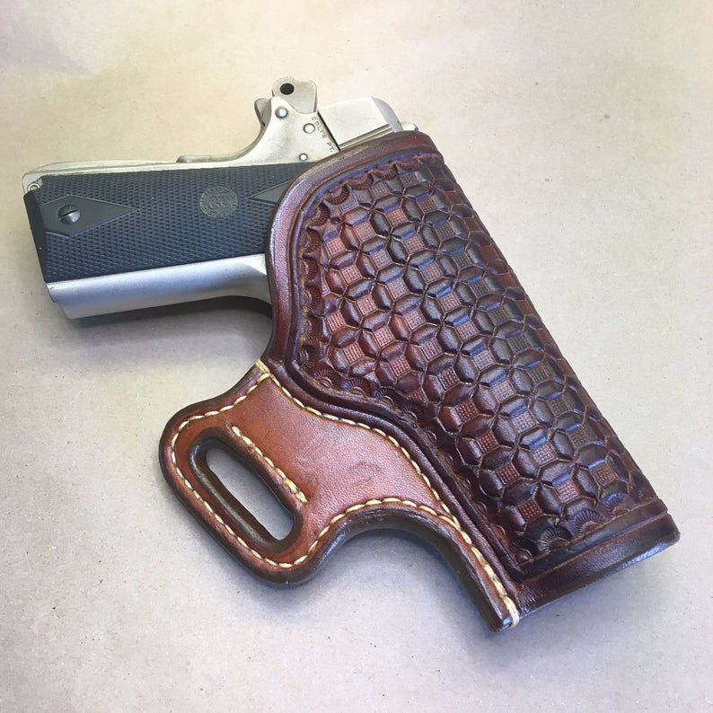 "The ""Sidekick"" Holster for a Colt 1911 Commander.....Wafflestamp tooling..... Handmade from Saddle Leather"