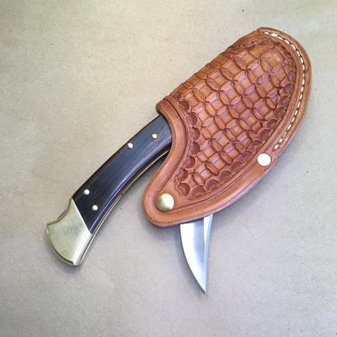"The ""One-Hander"" Knife Sheath... Horizontal Carry...One Hand Opening... For The Buck 110 Folding Hunter Knife."