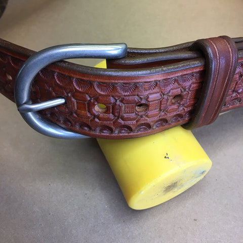 "39"" Leather Holster Belt..... Handmade From Saddle Leather, Wafflestamp Tooling."