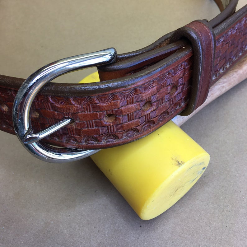 "40"" Leather Holster Belt..... Handmade From Saddle Leather, Basketweave Tooling."