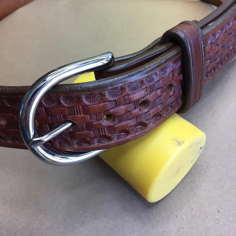 "39"" Leather Holster Belt...Handmade From Saddle Leather...  Basketweave Tooling"