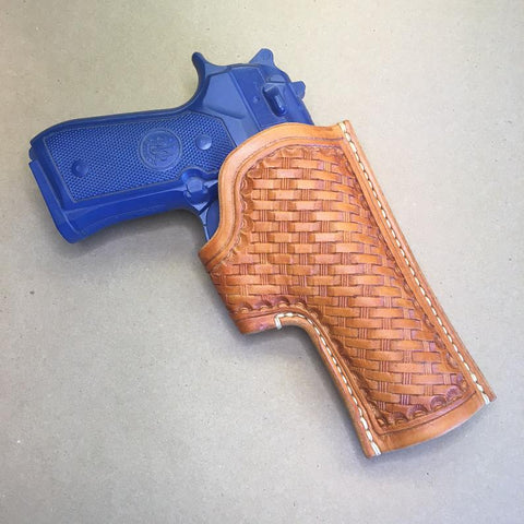 "NEW! The ""Ridge"" Holster for a Beretta 92FS..... Handmade from Saddle Leather.....Basketweave tooling"