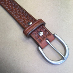 "37"" Leather Holster Belt...Handmade From Saddle Leather...Basketweave Tooling"