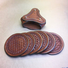 Leather Coaster Set With Holder (6 Coasters). ..Basketweave Tooling...Handmade From Saddle Leather, Handtooled