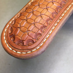 Leather Skillet Handle….. Beavertail….. Saddle Leather..... Handtooled..... Wafflestamp tooling.....Handstitched.