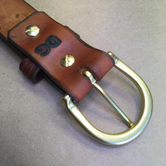 "36"" Leather Holster Belt..... Handmade From Saddle Leather, Wafflestamp Tooling."