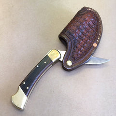 "The ""One-Hander"" Knife Sheath... One Hand Opening...Handtooled with a Wafflestamp Pattern... Vertical Carry..... For The Buck 110 Folding Hunter Knife."