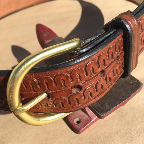 "35"" Leather Holster Belt Double Serpentine Tooling"