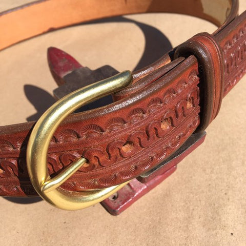 "35"" Leather Holster Belt Serpentine Tooling with Sunbursts"