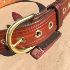 "36"" Leather Eyelet Belt-Borderlines with Brass Eyelets"