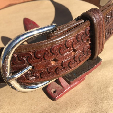"39"" Leather Holster Belt...Handmade From Saddle Leather...Double Carlos Tooling"
