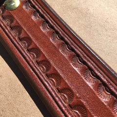 "Custom Leather 39"" Holster Belt Borderlines with Sunbursts Tooling"