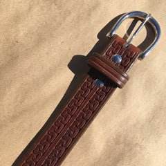 "39"" Leather Holster Belt Double Carlos Tooling"