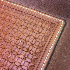"Leather EDC Tray..... Valet Tray..... 6"" X 8""..... Handmade, Handtooled with a Wafflestamp pattern, Handstitched"