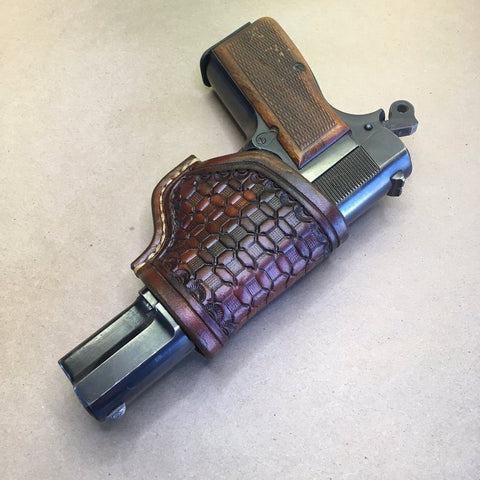 "The ""One-Hander"" Knife Sheath.....Horizontal/Crossdraw Carry..... Basketweave Tooling.. One Hand Opening... For The Buck 110 Folding Hunter Knife."